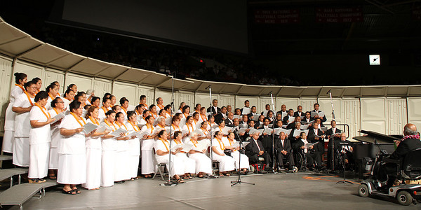 The Samoan choir, led by Pulefano Galea'i, in the PCC 50th Anniversary musical fireside; (Polynesian Cultural Center photo by Mike Foley)