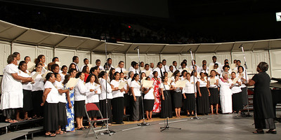 The Fijian choir, led by Lice Rama-Niu, in the PCC 50th Anniversary musical fireside; (Polynesian Cultural Center photo by Mike Foley)