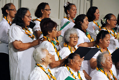 Hawaiian choir members in the PCC 50th Anniversary musical fireside; (Polynesian Cultural Center photo by Mike Foley)