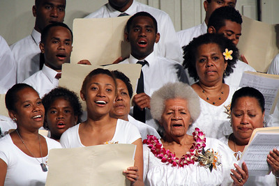 The Fijian choir, in the PCC 50th Anniversary musical fireside; (Polynesian Cultural Center photo by Mike Foley)