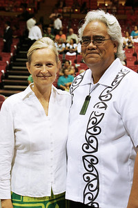 PCC alumni Bonnie Rogde Berryman (left) and her husband, Varen Berryman, came from Mesa, Arizona to attend the 50th Anniversary. (Polynesian Cultural Center photo by Mike Foley)
