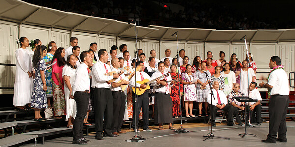 The Tahitian choir, led by Andre Tauraa, in the PCC 50th Anniversary musical fireside; (Polynesian Cultural Center photo by Mike Foley)