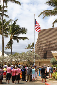 According to protocol, the PCC 50th Anniversary flagraising ceremony began with the U.S. flag, followed by those of the island nations; (Polynesian Cultural Center photo by Mike Foley)