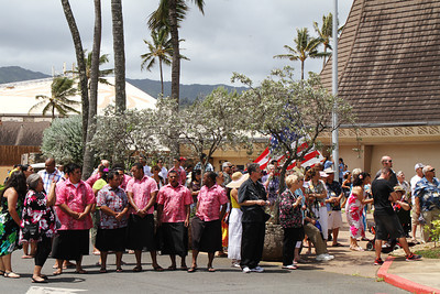 The flagraising ceremony . . . about to begin; (Polynesian Cultural Center photo by Mike Foley)