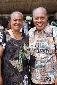 Ana (left) and Halahuni Langi, who came from Tonga for the PCC's 50th Anniversary celebration, at the flagraising; (Polynesian Cultural Center photo by Mike Foley)