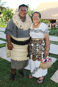 Fasi (left) and Mele Tovo at the Alumni reception; Polynesian Cultural Center photo by Mike Foley