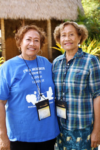 1960s PCC alumnae twins Elenoa Tufuga (left) and Elevila Tufuga Bird at the welcoming ceremony in the Samoan Village, where they worked. They came from California for both the 40th and 50th anniversary celebrations. (Polynesian Cultural Center photo by Mike Foley)