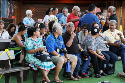 PCC alumni at the Welcome Reception in the Hawaiian Village; Polynesian Cultural Center photo by Mike Foley