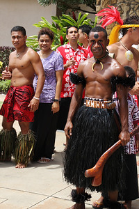 More island representatives participating in the flagraising ceremony; (Polynesian Cultural Center photo by Mike Foley)