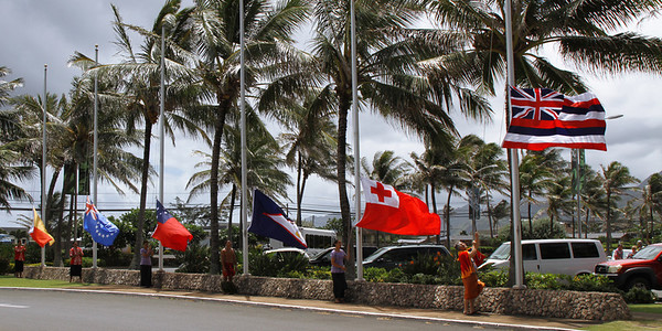 The other island nations defer to the Hawaii State flag during the PCC 50th Anniversary flagraising ceremony; (Polynesian Cultural Center photo by Mike Foley)