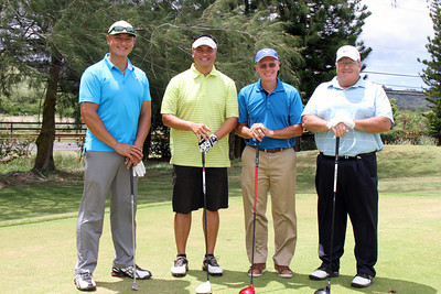 This PCC 50th Anniversary golf tournament foursome includes Director of Sales Francis Ho Ching (second from left); Polynesian Cultural Center photo by Mike Foley