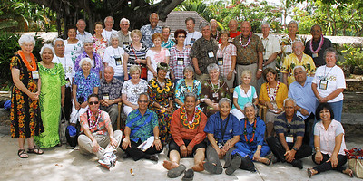 A mixed group of labor, former and current senior missionaries; Polynesian Cultural Center photo by Mike Foley