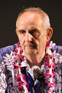 Elder Jay Waite speaks on behalf of the currently serving senior missionaries; Polynesian Cultural Center photo by Mike Foley