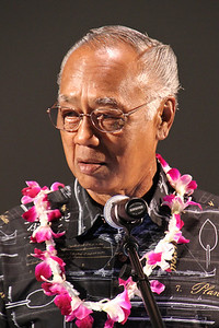 """Antone """"Tony"""" Haiku Jr spoke on behalf of the labor missionaries:  He also worked at the PCC for many years; Polynesian Cultural Center photo by Mike Foley"""