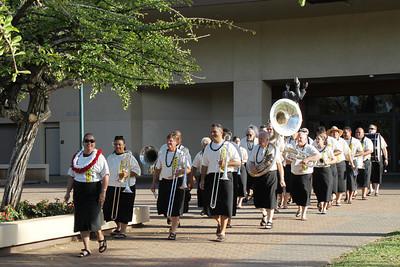 PCC/BYUH Alumni Brass Band , Delsa Atoa Moe as drum major; Polynesian Cultural Center photo by Mike Foley