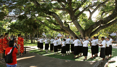 PCC/BYUH Alumni Brass Band plays in Hawaii for the first time since 1995; Polynesian Cultural Center photo by Mike Foley