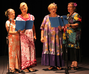 A quartet of currently serving senior sister missionaries; Polynesian Cultural Center photo by Mike Foley