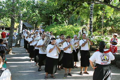 PCC/BYUH Alumni Brass Band plays in Tahiti for the first time since 1995; Polynesian Cultural Center photo by Mike Foley