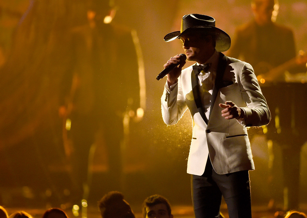 ". Tim McGraw performs ""The Rest of Our Life\"" at the 51st annual CMA Awards at the Bridgestone Arena on Wednesday, Nov. 8, 2017, in Nashville, Tenn. (Photo by Chris Pizzello/Invision/AP)"