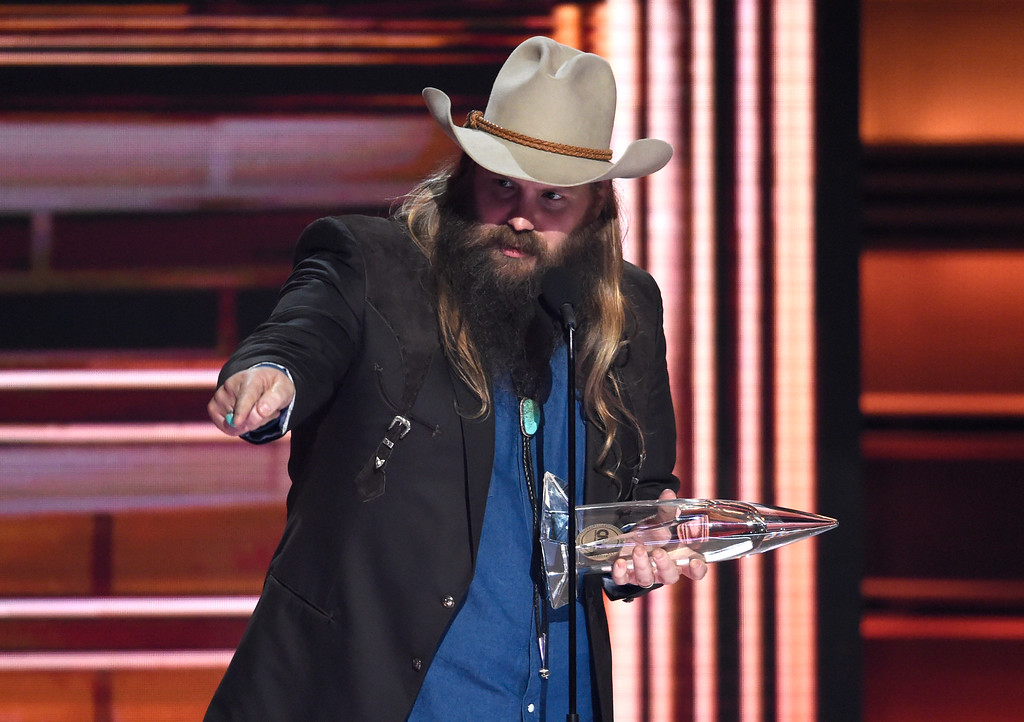 . Chris Stapleton accepts the award for male vocalist of the year at the 51st annual CMA Awards at the Bridgestone Arena on Wednesday, Nov. 8, 2017, in Nashville, Tenn. (Photo by Chris Pizzello/Invision/AP)
