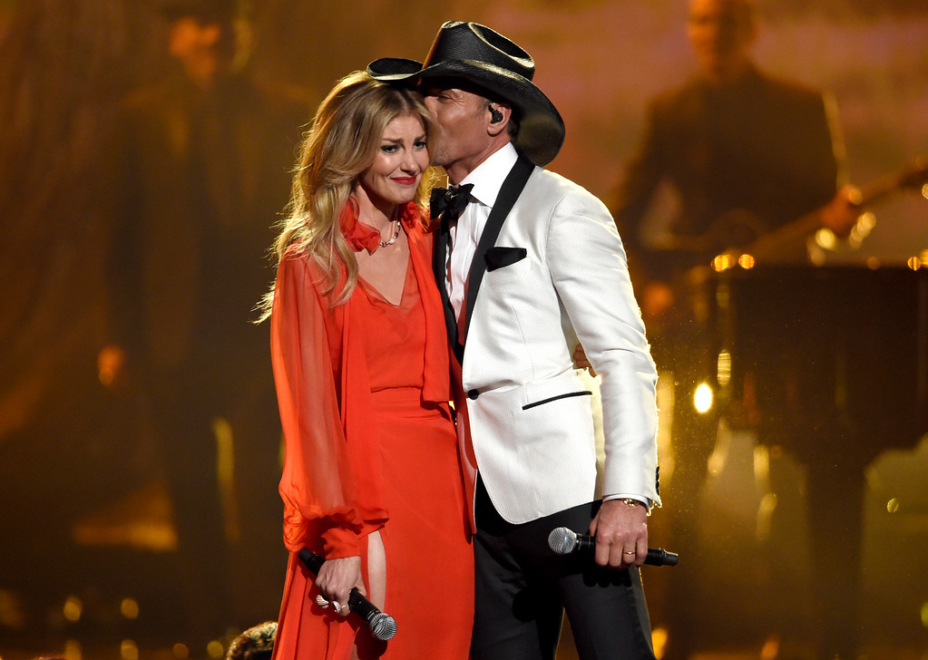 ". Faith Hill, left, and Tim McGraw perform ""The Rest of Our Life\"" at the 51st annual CMA Awards at the Bridgestone Arena on Wednesday, Nov. 8, 2017, in Nashville, Tenn. (Photo by Chris Pizzello/Invision/AP)"