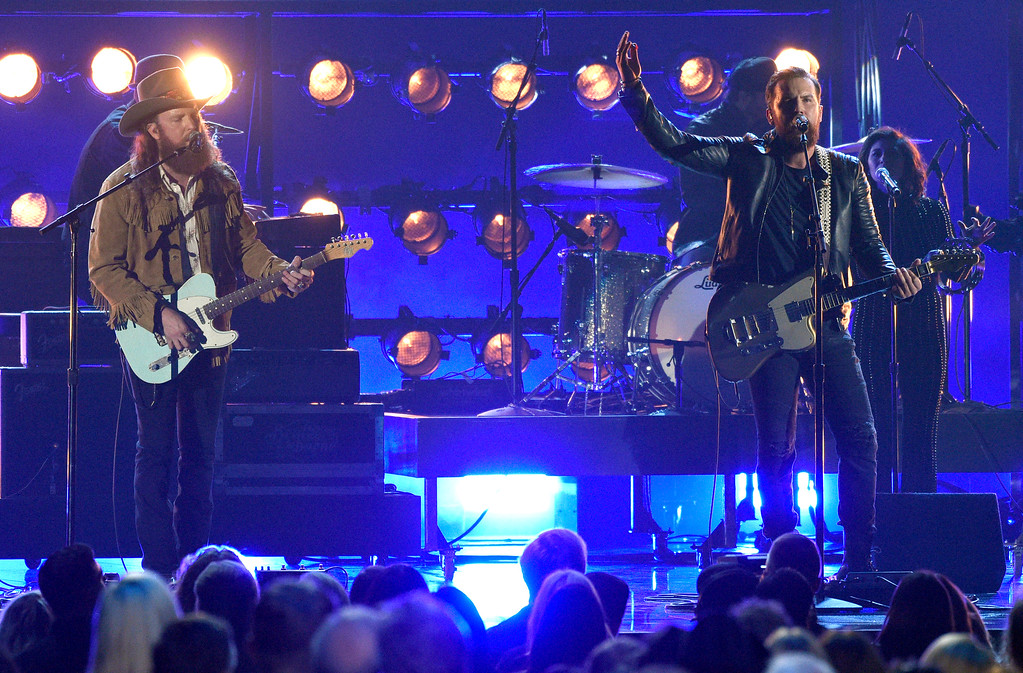 . John Osborne, left, and T.J. Osborne, of Brothers Osborne, perform at the 51st annual CMA Awards at the Bridgestone Arena on Wednesday, Nov. 8, 2017, in Nashville, Tenn. (Photo by Chris Pizzello/Invision/AP)