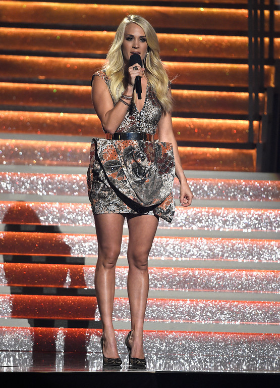 . Carrie Underwood speaks at the 51st annual CMA Awards at the Bridgestone Arena on Wednesday, Nov. 8, 2017, in Nashville, Tenn. (Photo by Chris Pizzello/Invision/AP)