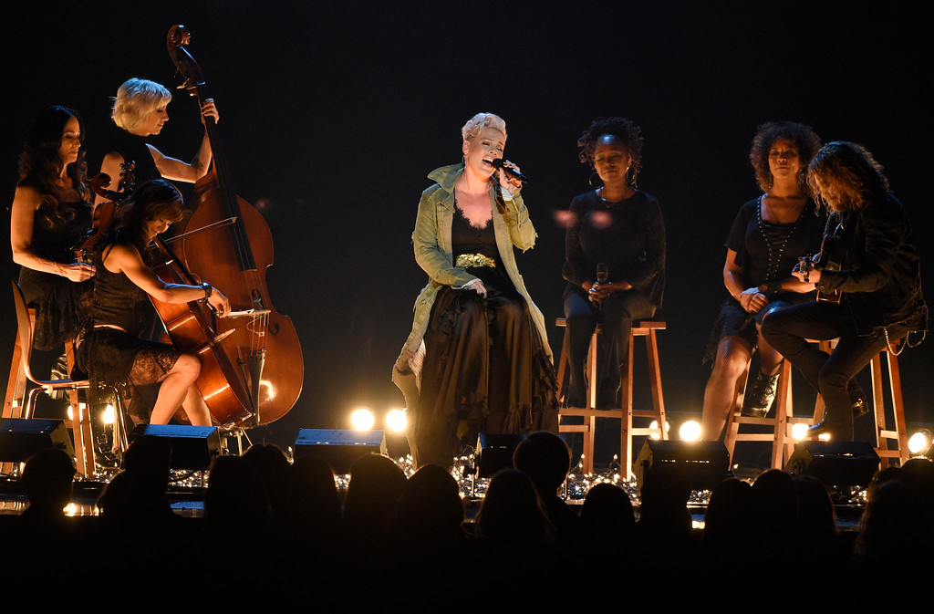". Pink performs ""Barbies\"" at the 51st annual CMA Awards at the Bridgestone Arena on Wednesday, Nov. 8, 2017, in Nashville, Tenn. (Photo by Chris Pizzello/Invision/AP)"