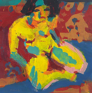 Nude Woman Seated Against Red Patterned Background (after Kirchner)