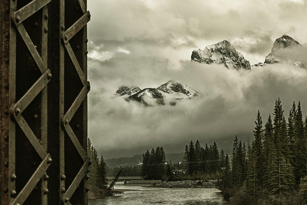 Three Sisters from Train Bridge, Canmore