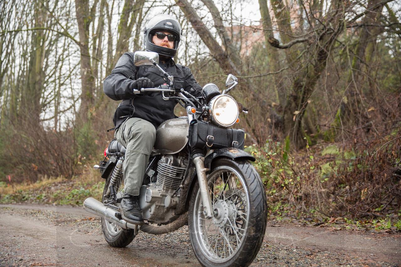 Selfie on a dirty motorcycle