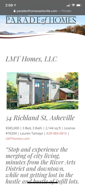 Listing on the Asheville parade of homes site.