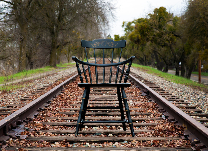 chair on the tracks