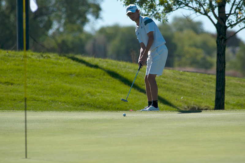 Photo by William Woody -- Danny Gallant of Monarch putts for birdie on the par-four third hole at Bookcliff Country Club Tuesday morning, Sept. 27, 2016, in Grand Junction Colo.