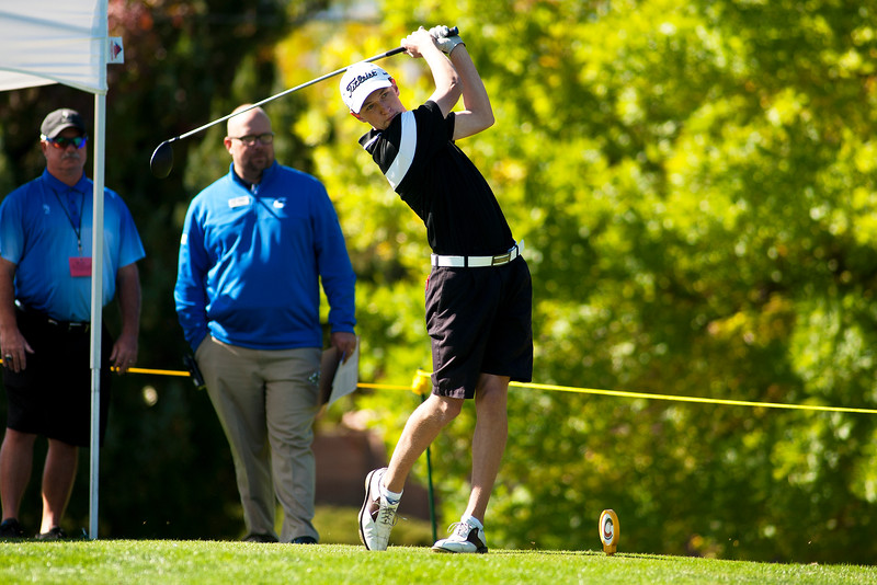 Photo by William Woody -- Andrew Perry of Fairview tees off on the par-four first hole at Bookcliff Country Club Monday morning, Sept. 26, 2016, in Grand Junction Colo.
