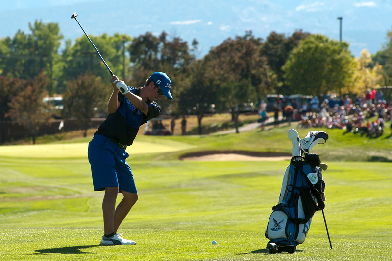 Photo by William Woody -- Kyle Pearson of Highlands Ranch, with a seven-shot lead, hits towards the 18th green on the par-five 18th hole to win the Colorado State 5A individual championship at Bookcliff Country Club Tuesday morning, Sept. 27, 2016, in Grand Junction Colo.