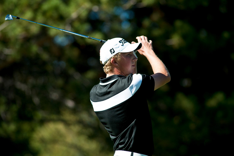 Photo by William Woody -- Daniel Pearson of Fairview watches an errant tee shot on the par-three 2nd hole at Bookcliff Country Club Monday morning, Sept. 26, 2016, in Grand Junction Colo.