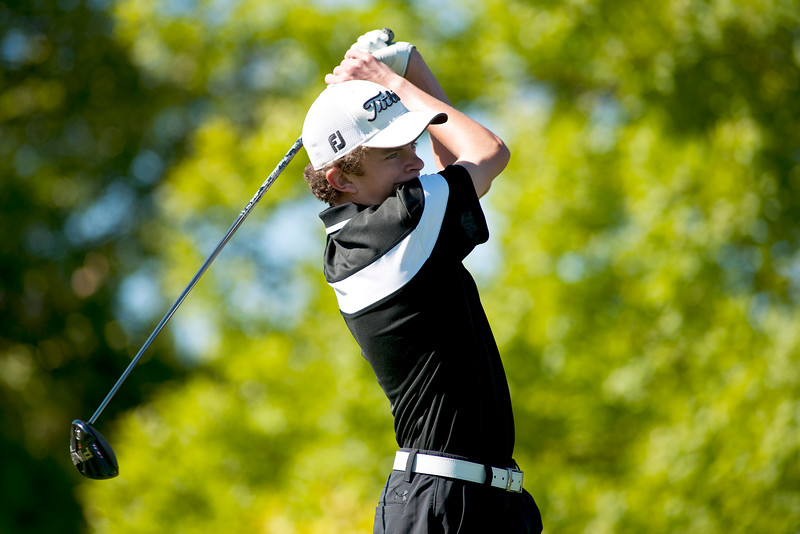 Photo by William Woody -- Will Branan of Fairview tees off on the par-four first hole at Bookcliff Country Club Monday morning, Sept. 26, 2016, in Grand Junction Colo.