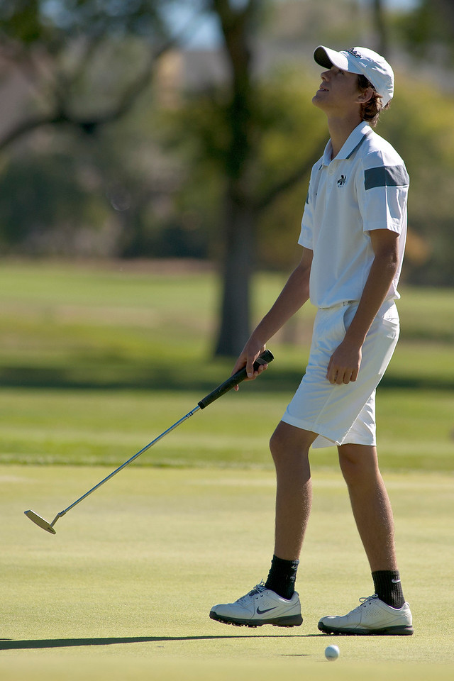 Photo by William Woody -- Danny Gallant of Monarch misses a putt for par on the par-four third hole at Bookcliff Country Club Tuesday morning, Sept. 27, 2016, in Grand Junction Colo.