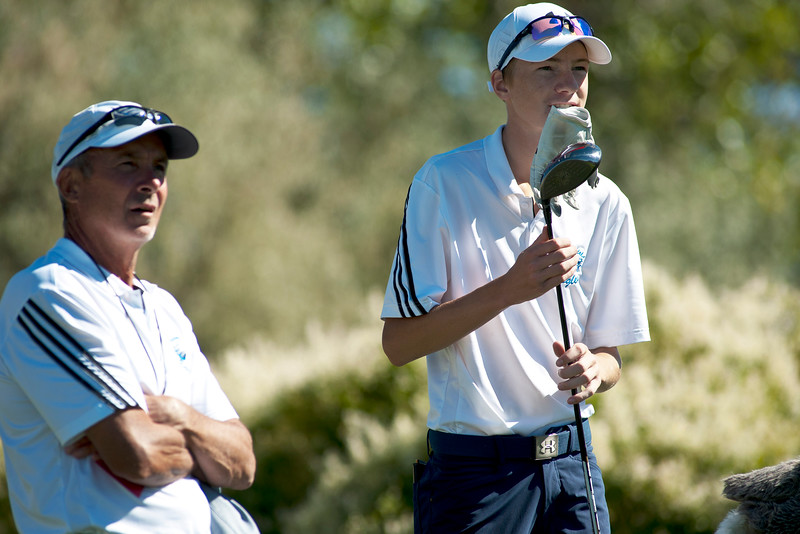 Photo by William Woody -- Shane Tilger talks with coach Dave Sisson on the par-five 18th-hole at Bookcliff Country Club Monday morning, Sept. 26, 2016, in Grand Junction Colo.
