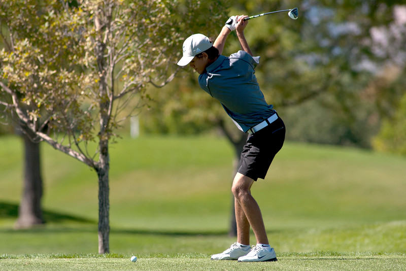 Photo by William Woody -- Danny Gallant of Monarch tees off on the par-three 17th hole at Bookcliff Country Club Monday morning, Sept. 26, 2016, in Grand Junction Colo.