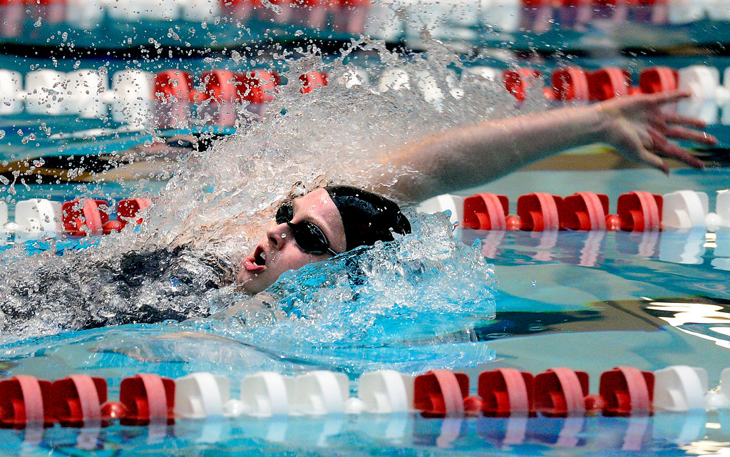 . THORNTON, CO FEBRUARY 9 2019 Fairview High\'s Riley Tapley swims the first leg of the 200 meter relay at the CHSAA Girls 5A State Swimming Championships at the Veterans Memorial Aquatics Center in Thornton on Saturday February 9, 2019. Fairview won the event. More photos bocopreps.com. (Photo by Paul Aiken/Staff Photographer)