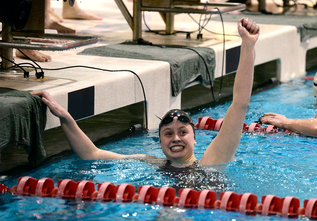 . THORNTON, CO FEBRUARY 9 2019 Fairview High\'s Riley Tapley celebrates her teams second place finish in the 400 free relay and winning the CHSAA Girls 5A State Swimming Championships at the Veterans Memorial Aquatics Center in Thornton on Saturday February 9, 2019. (Photo by Paul Aiken/Staff Photographer)
