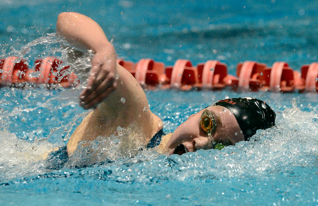 . THORNTON, CO FEBRUARY 9 2019 Fairview High\'s Morgan Simon swims to a fourth place finish in the 500 yard freestyle at the CHSAA Girls 5A State Swimming Championships at the Veterans Memorial Aquatics Center in Thornton on Saturday February 9, 2019. (Photo by Paul Aiken/Staff Photographer)