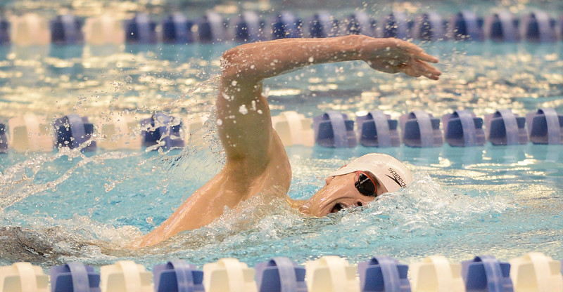 Fairview's Michael Zarian won the 500 Yard Freestyle at the 5A Boys State Swimming Championship on Saturday, May 21, 2016 at the Air Force Academy. Photo by Spotlight Sports Photography.