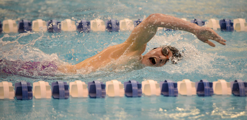 Boulder's Nathan Rock during the 500 Yard Freestyle at the 5A Boys State Swimming Championship on Saturday, May 21, 2016 at the Air Force Academy. Photo by Spotlight Sports Photography.