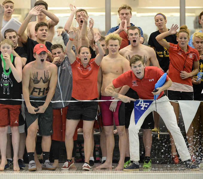 Fairview's coach and teammates cheering during the 5A Boys State Swimming Championship on Saturday, May 21, 2016 at the Air Force Academy. Photo by Spotlight Sports Photography.