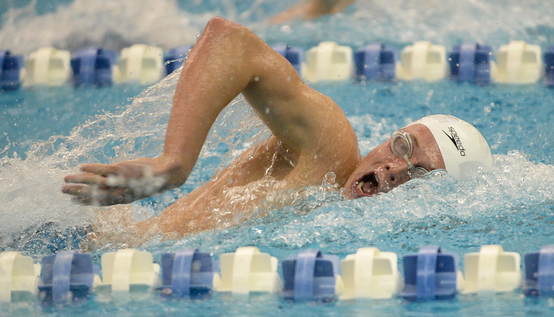 Boulder's Chris Nicholson won the 200 Yard Freestyle at the 5A Boys State Swimming Championship on Saturday, May 21, 2016 at the Air Force Academy. Photo by Spotlight Sports Photography.
