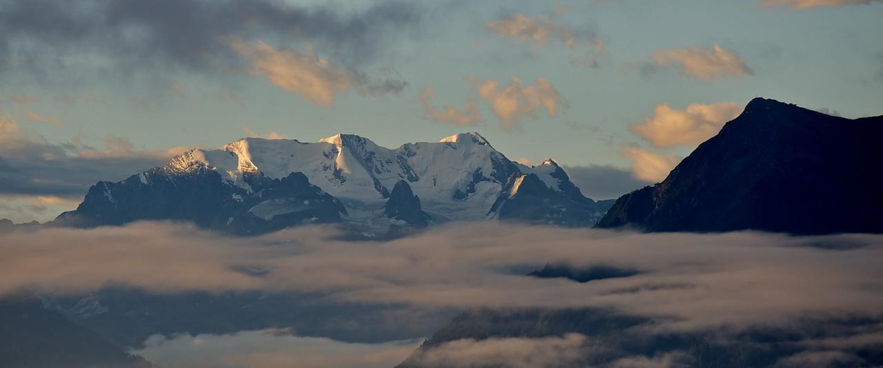 Dawn view from Gerzensee of Blüemlisalp, Switzerland
