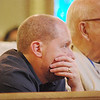 Terry McNeeley of St. Gabriel the Archangel Church in McKinney, listens to Fr. Wade Menezes talk about how virtue gives us a blueprint for our lives. (Photo by Lance Murray / NTC)
